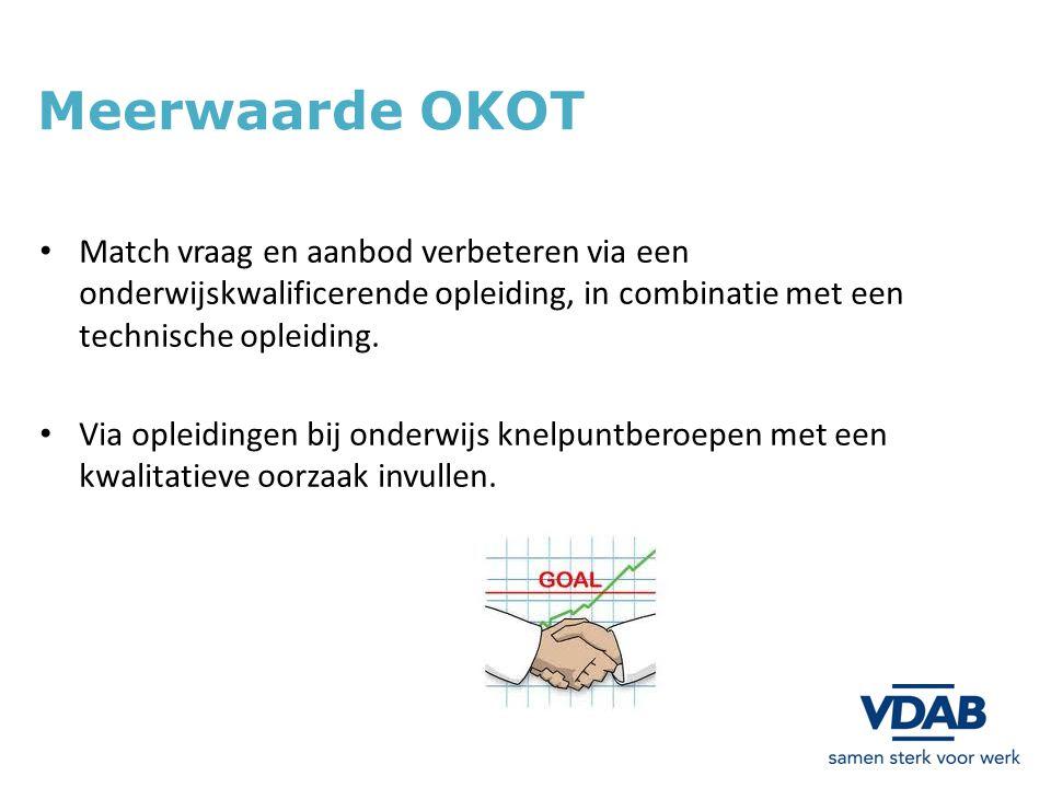 Meerwaarde OKOT Match vraag en aanbod verbeteren via een onderwijskwalificerende opleiding, in combinatie met een technische opleiding.