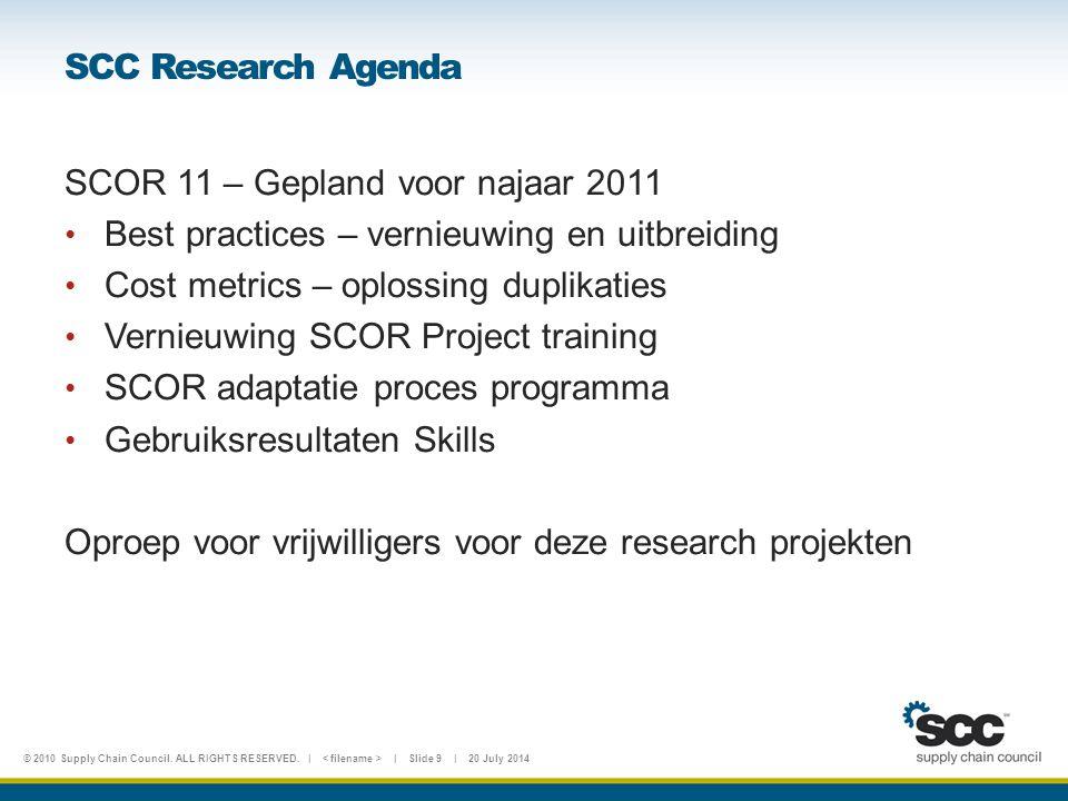 SCC Research Agenda SCOR 11 – Gepland voor najaar 2011. Best practices – vernieuwing en uitbreiding.