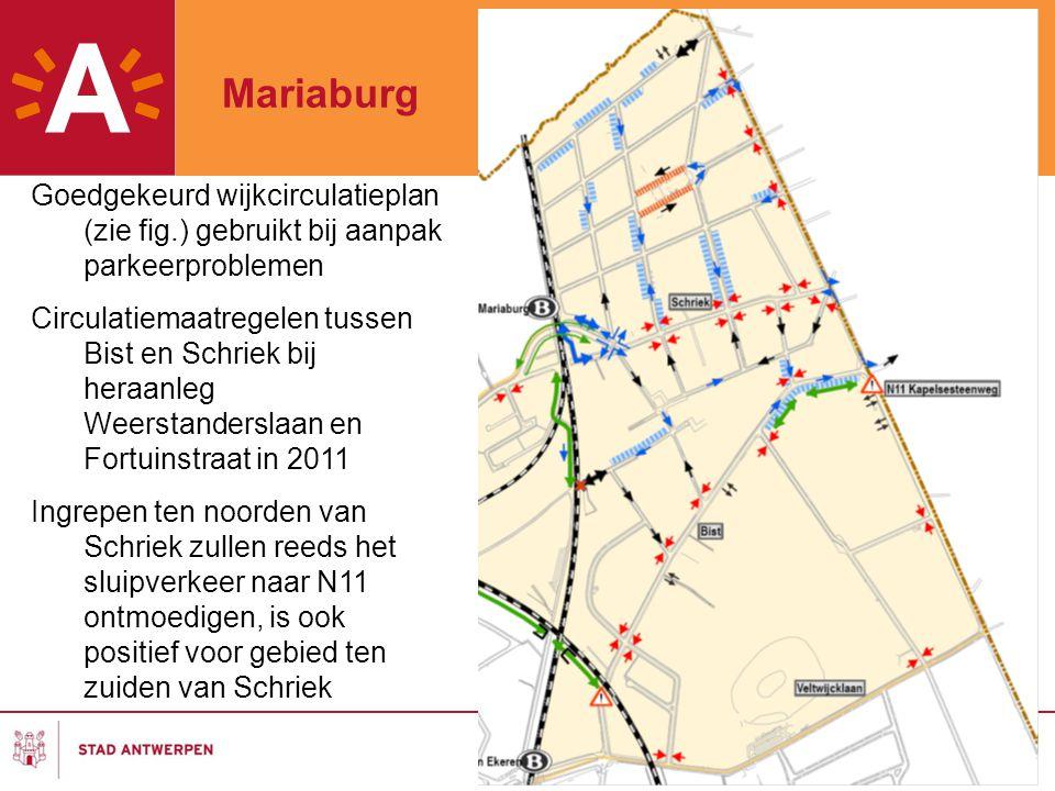 Mariaburg Goedgekeurd wijkcirculatieplan (zie fig.) gebruikt bij aanpak parkeerproblemen.