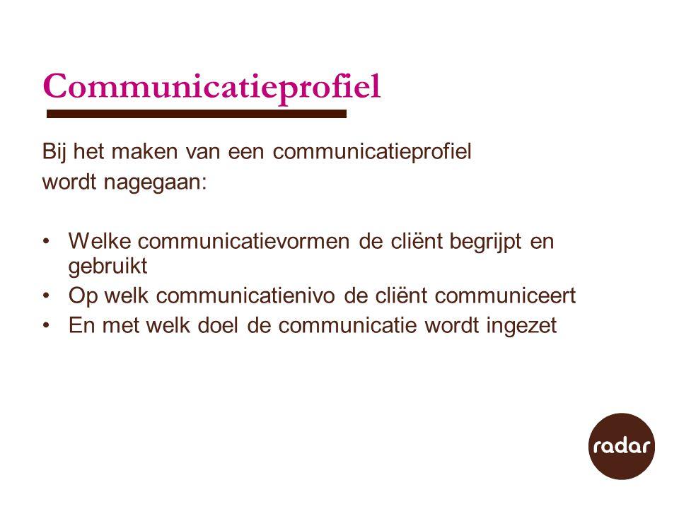 Communicatieprofiel Bij het maken van een communicatieprofiel
