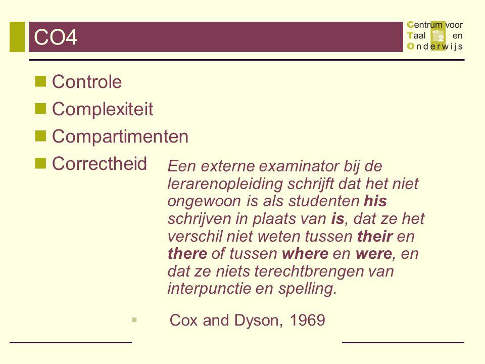 CO4 Controle Complexiteit Compartimenten Correctheid