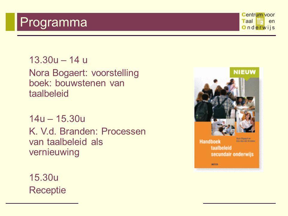 Programma 13.30u – 14 u. Nora Bogaert: voorstelling boek: bouwstenen van taalbeleid. 14u – 15.30u.