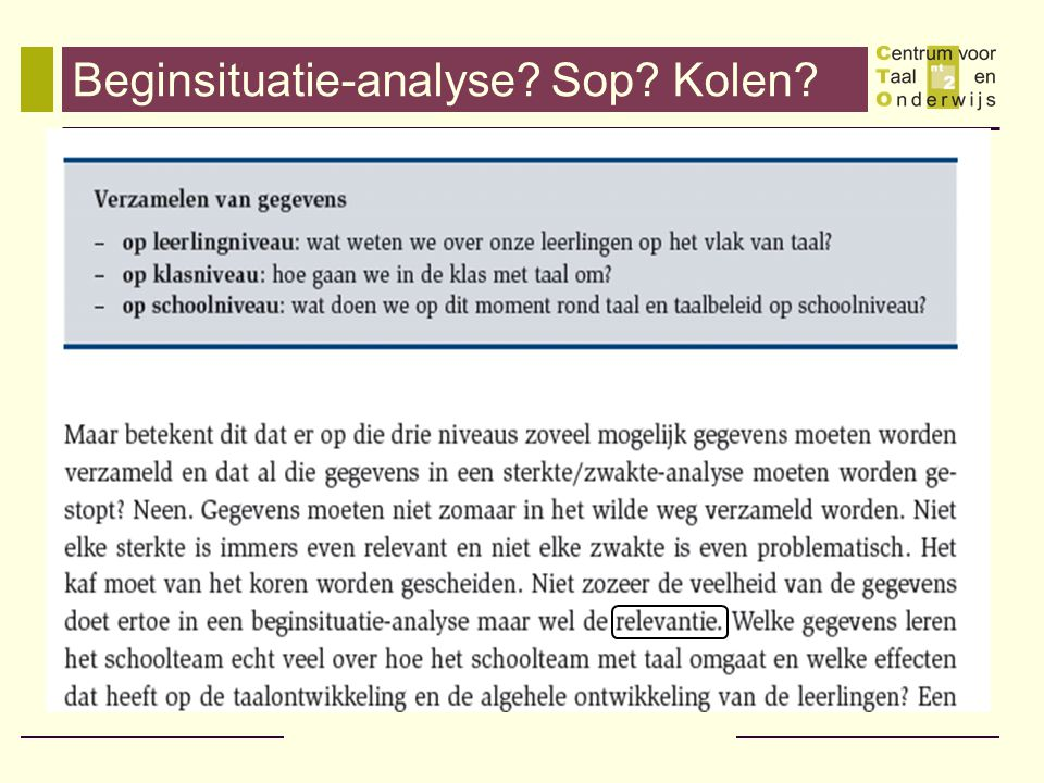 Beginsituatie-analyse Sop Kolen