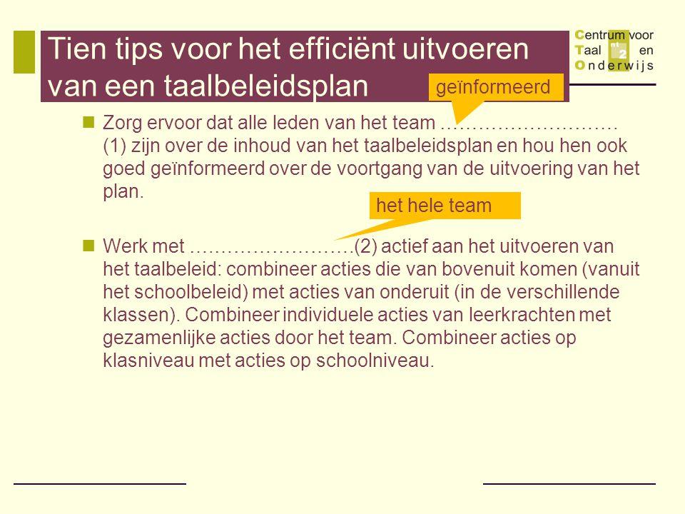 Tien tips voor het efficiënt uitvoeren van een taalbeleidsplan