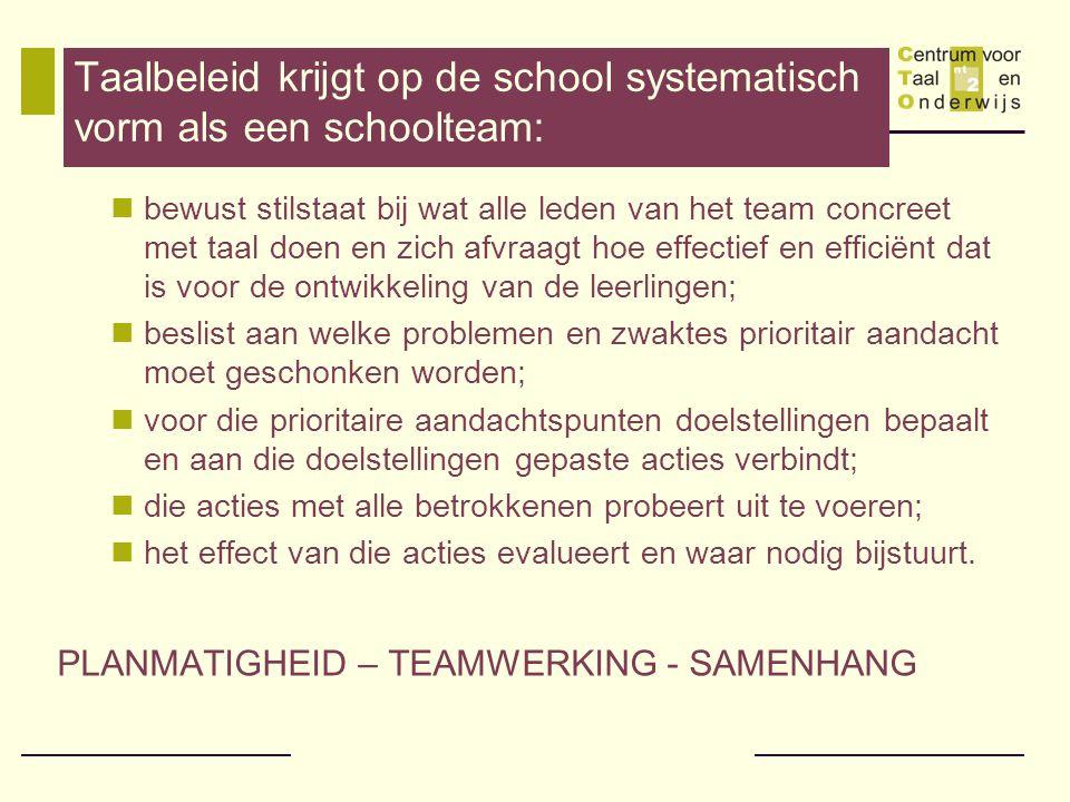 Taalbeleid krijgt op de school systematisch vorm als een schoolteam: