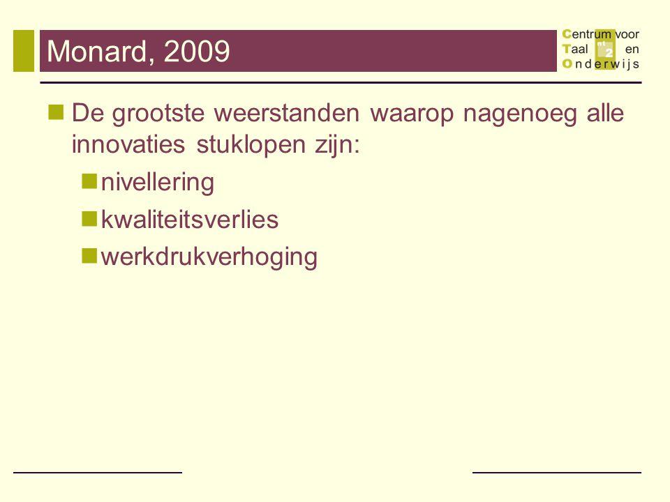 Monard, 2009 De grootste weerstanden waarop nagenoeg alle innovaties stuklopen zijn: nivellering. kwaliteitsverlies.