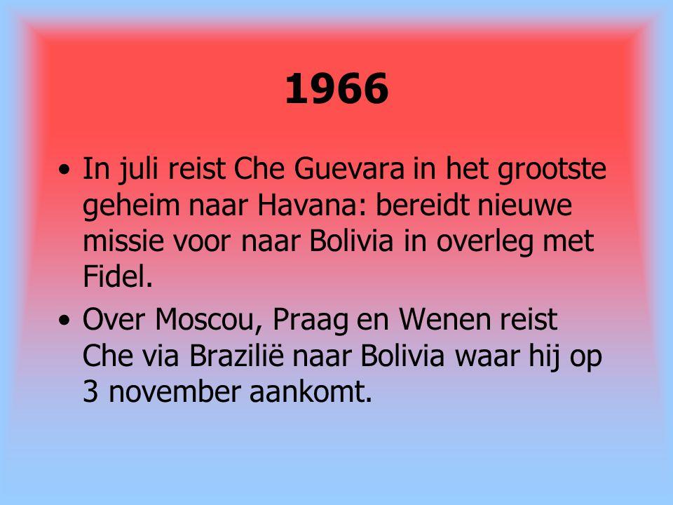 1966 In juli reist Che Guevara in het grootste geheim naar Havana: bereidt nieuwe missie voor naar Bolivia in overleg met Fidel.