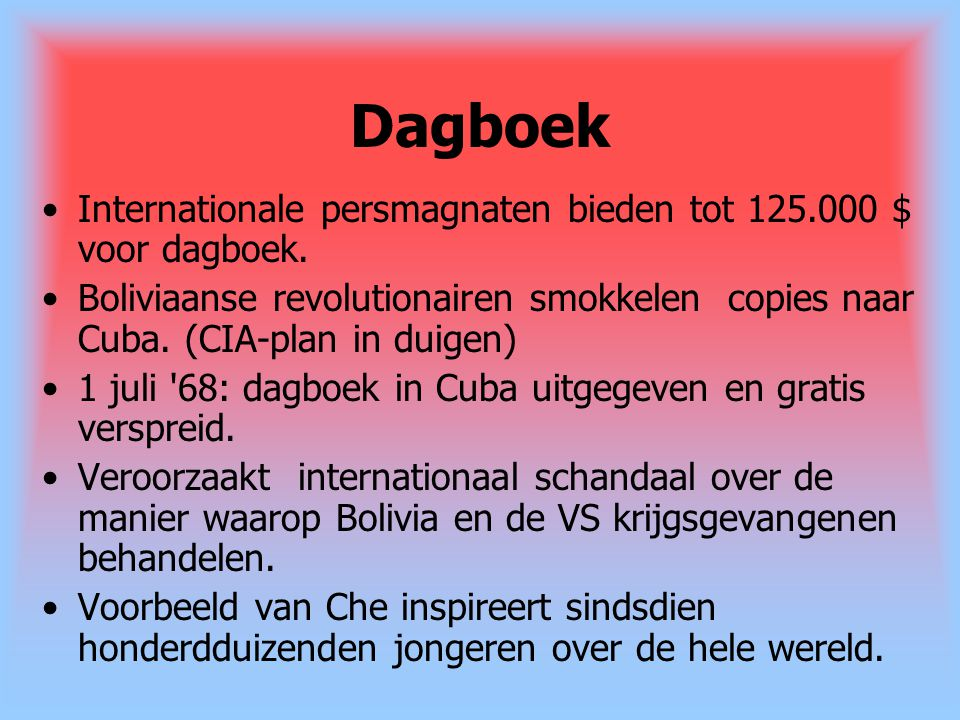 Dagboek Internationale persmagnaten bieden tot 125.000 $ voor dagboek.