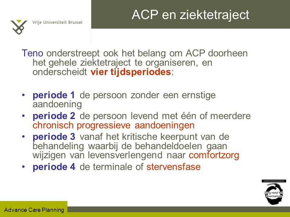 ACP en ziektetraject Teno onderstreept ook het belang om ACP doorheen het gehele ziektetraject te organiseren, en onderscheidt vier tijdsperiodes: