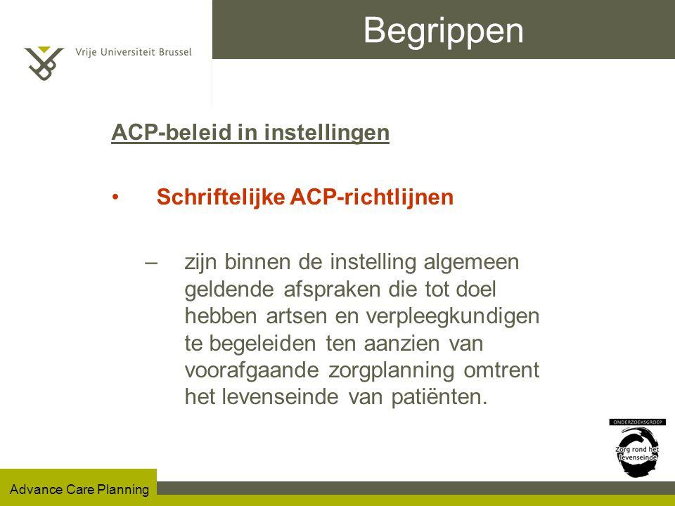 Begrippen ACP-beleid in instellingen Schriftelijke ACP-richtlijnen