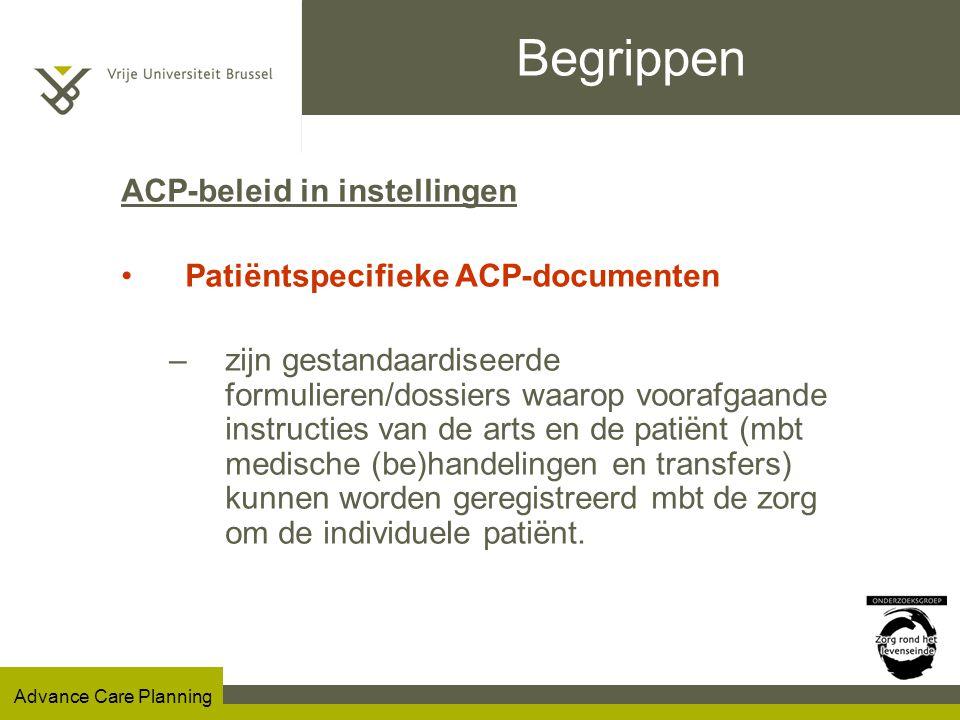 Begrippen ACP-beleid in instellingen Patiëntspecifieke ACP-documenten