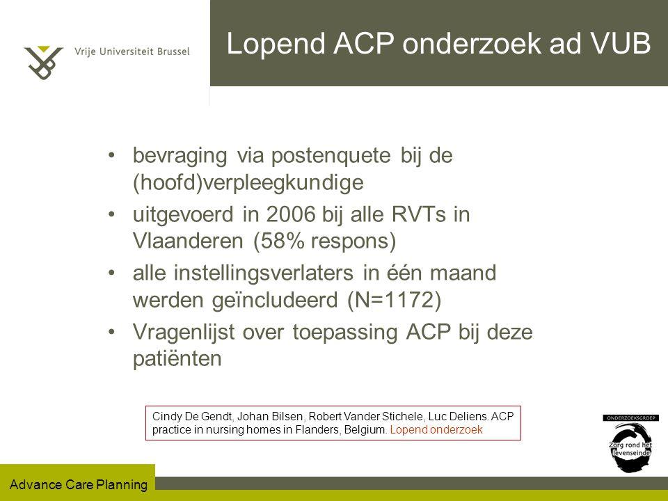 Lopend ACP onderzoek ad VUB
