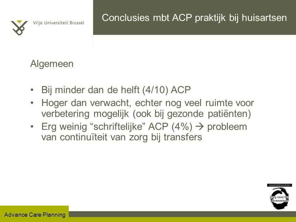 Conclusies mbt ACP praktijk bij huisartsen