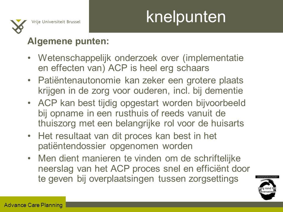 knelpunten Algemene punten: