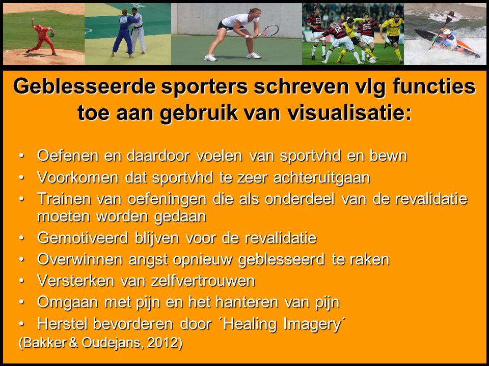 Geblesseerde sporters schreven vlg functies toe aan gebruik van visualisatie: