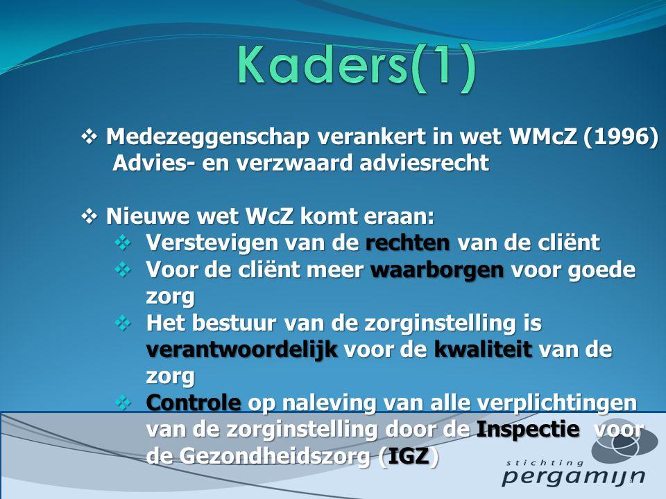 Kaders(1) Medezeggenschap verankert in wet WMcZ (1996)