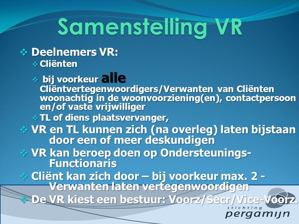 Samenstelling VR Deelnemers VR:
