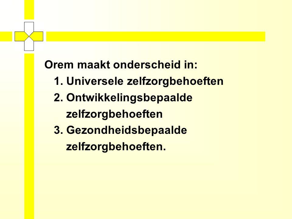 Orem maakt onderscheid in: