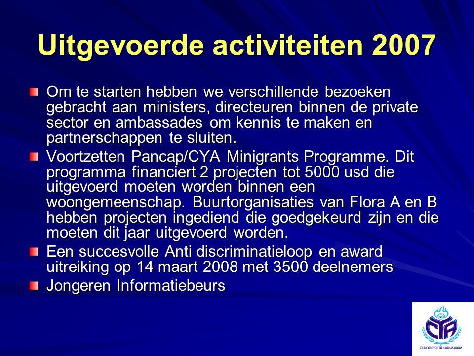 Uitgevoerde activiteiten 2007