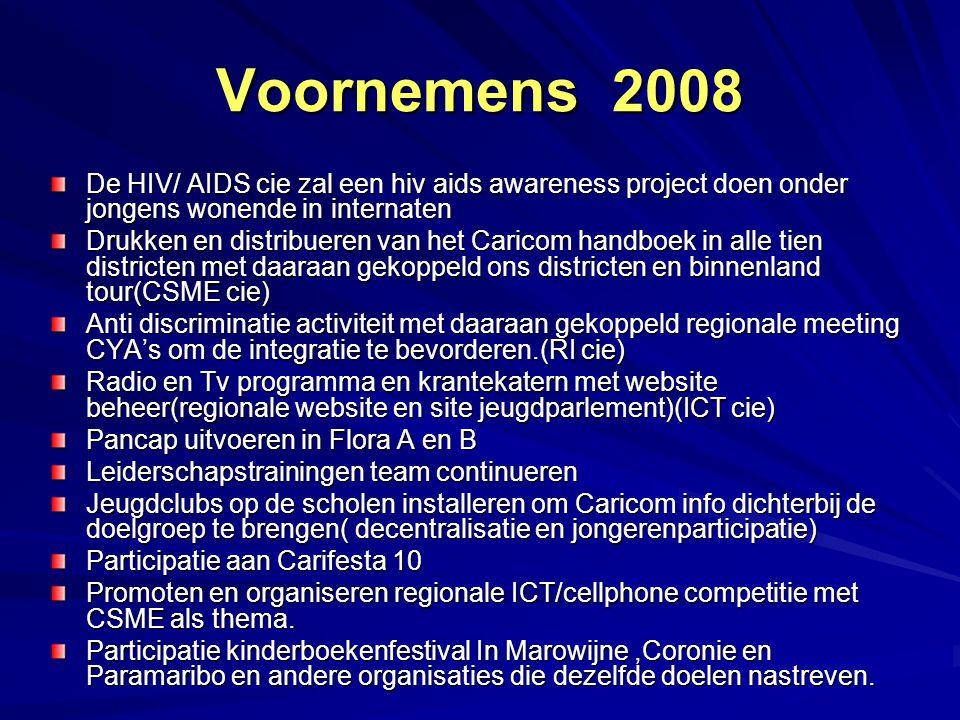Voornemens 2008 De HIV/ AIDS cie zal een hiv aids awareness project doen onder jongens wonende in internaten.