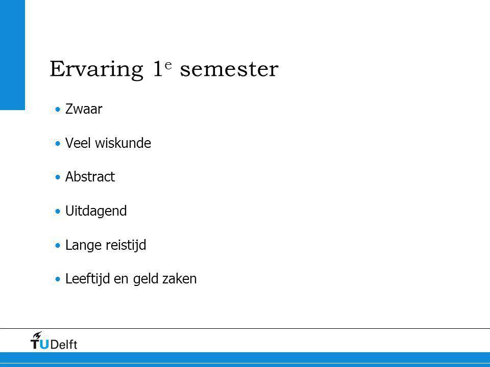 Ervaring 1e semester Zwaar Veel wiskunde Abstract Uitdagend