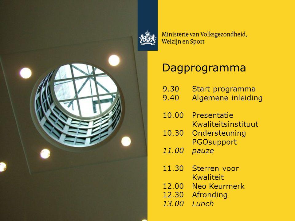 Dagprogramma 9.30 Start programma 9.40 Algemene inleiding