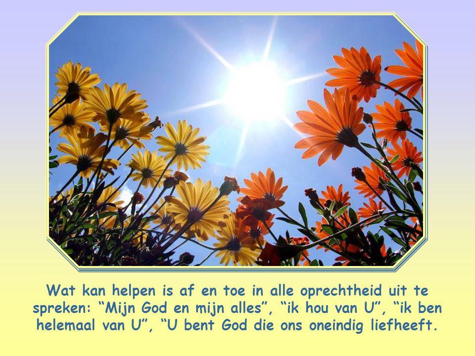 Wat kan helpen is af en toe in alle oprechtheid uit te spreken: Mijn God en mijn alles , ik hou van U , ik ben helemaal van U , U bent God die ons oneindig liefheeft.