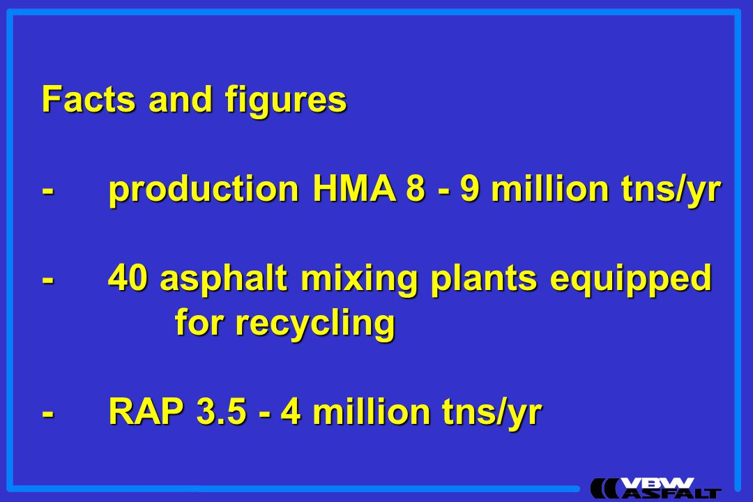Facts and figures - production HMA 8 - 9 million tns/yr. - 40 asphalt mixing plants equipped. for recycling.
