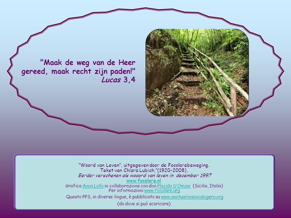 Maak de weg van de Heer gereed, maak recht zijn paden! Lucas 3,4