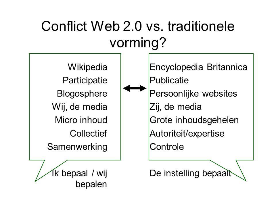 Conflict Web 2.0 vs. traditionele vorming