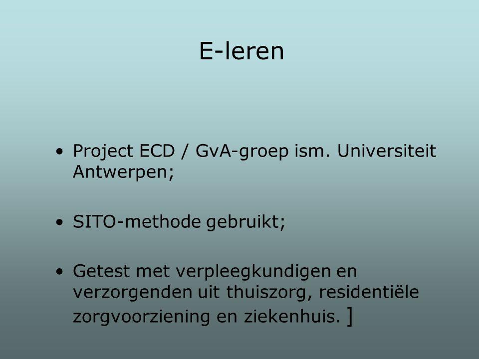 E-leren Project ECD / GvA-groep ism. Universiteit Antwerpen;