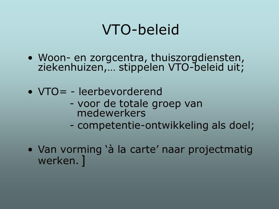 VTO-beleid Woon- en zorgcentra, thuiszorgdiensten, ziekenhuizen,… stippelen VTO-beleid uit; VTO= - leerbevorderend.