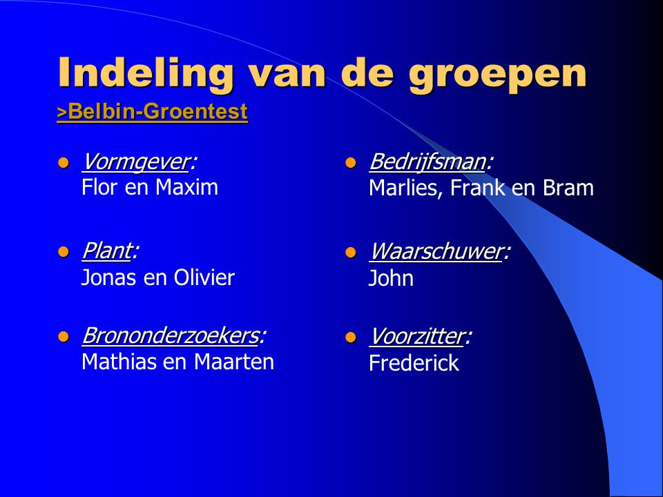 Indeling van de groepen >Belbin-Groentest