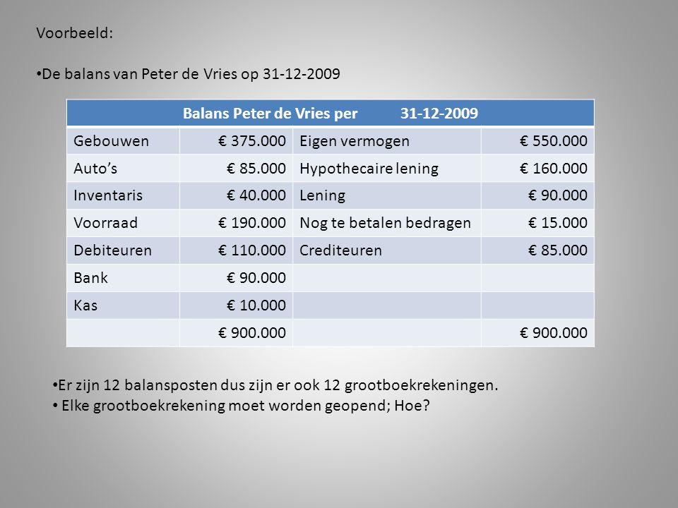 Balans Peter de Vries per 31-12-2009