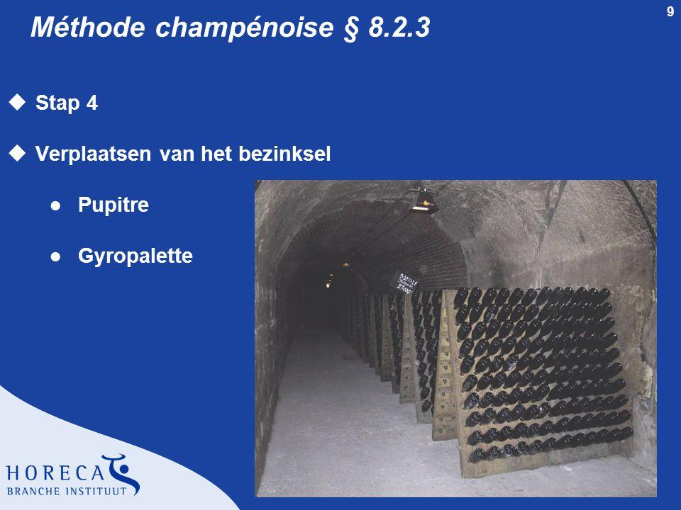 Méthode champénoise § 8.2.3 Stap 4 Verplaatsen van het bezinksel