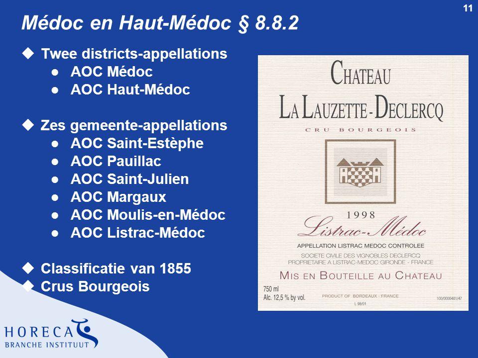 Médoc en Haut-Médoc § 8.8.2 Twee districts-appellations AOC Médoc
