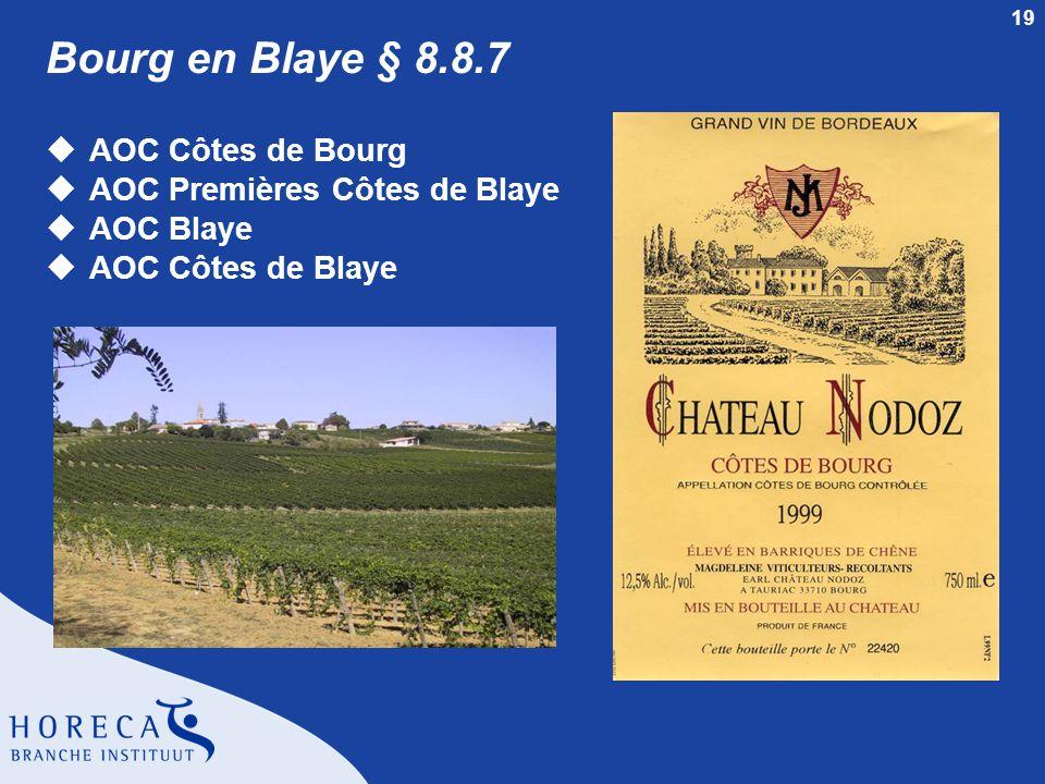 Bourg en Blaye § 8.8.7 AOC Côtes de Bourg AOC Premières Côtes de Blaye