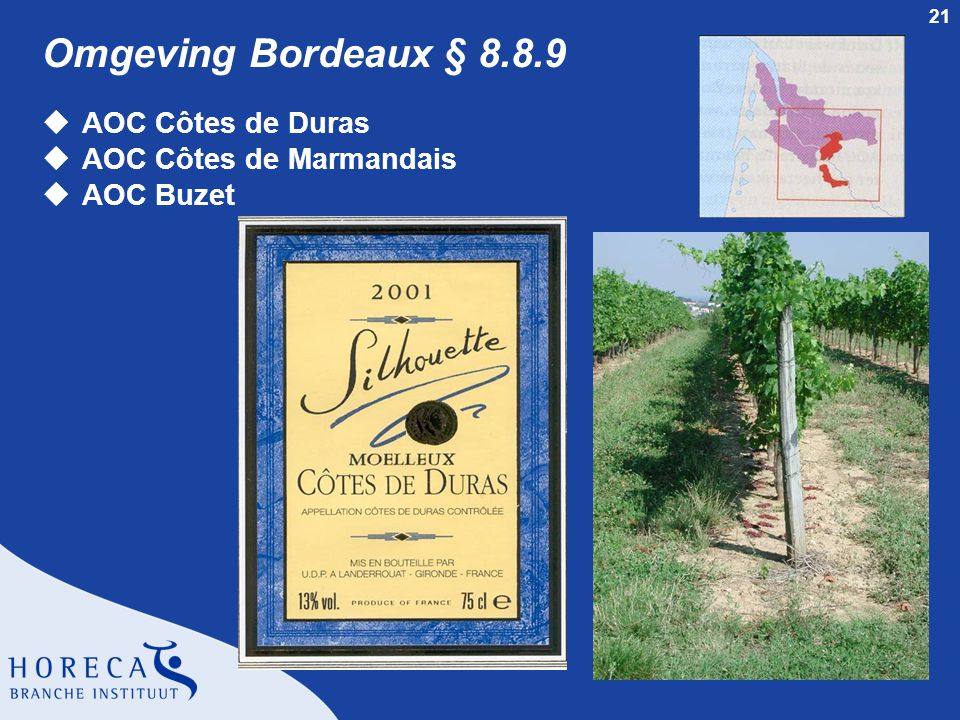 Omgeving Bordeaux § 8.8.9 AOC Côtes de Duras AOC Côtes de Marmandais