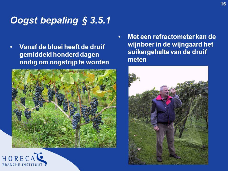 Oogst bepaling § 3.5.1 Met een refractometer kan de wijnboer in de wijngaard het suikergehalte van de druif meten.