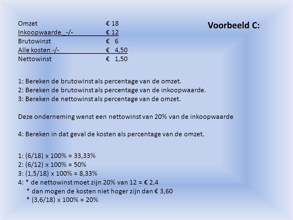 Voorbeeld C: Omzet € 18 Inkoopwaarde _-/- € 12 Brutowinst € 6