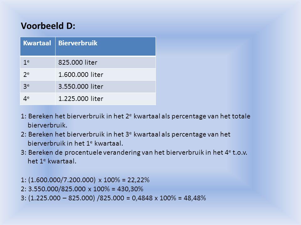 Voorbeeld D: Kwartaal Bierverbruik 1e 825.000 liter 2e 1.600.000 liter
