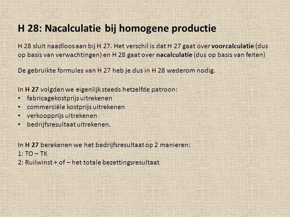 H 28: Nacalculatie bij homogene productie