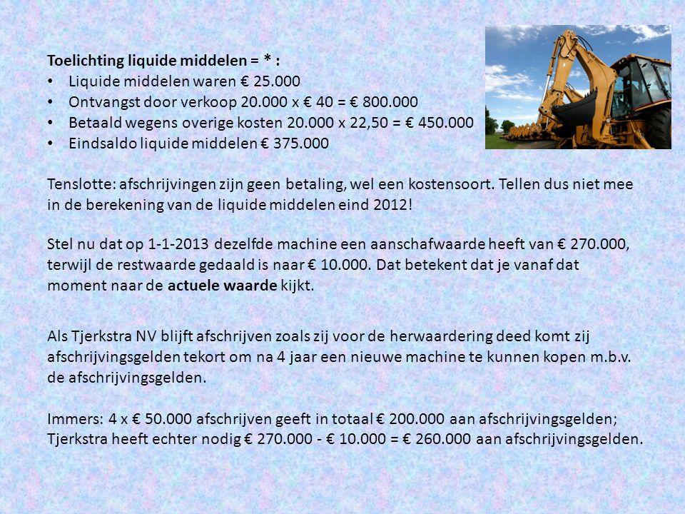 Toelichting liquide middelen = * :