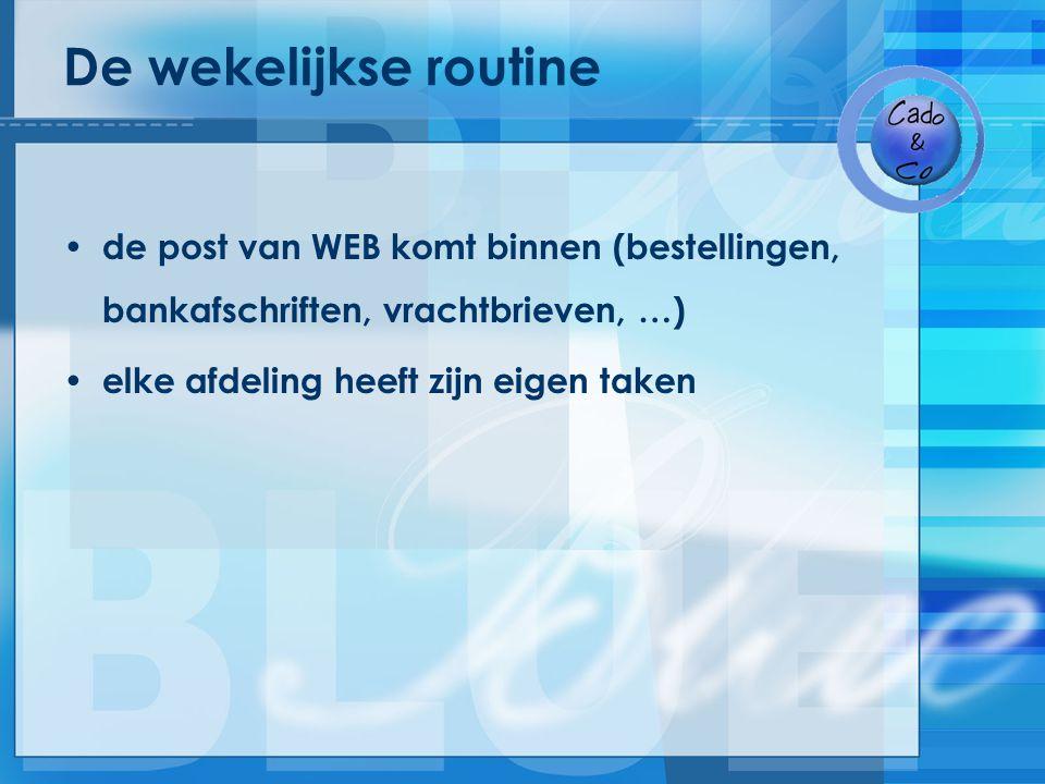 De wekelijkse routine de post van WEB komt binnen (bestellingen, bankafschriften, vrachtbrieven, …)