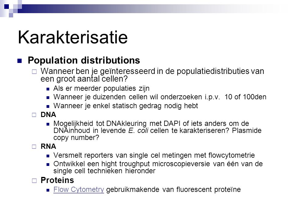 Karakterisatie Population distributions