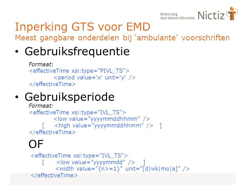 Inperking GTS voor EMD Meest gangbare onderdelen bij 'ambulante' voorschriften