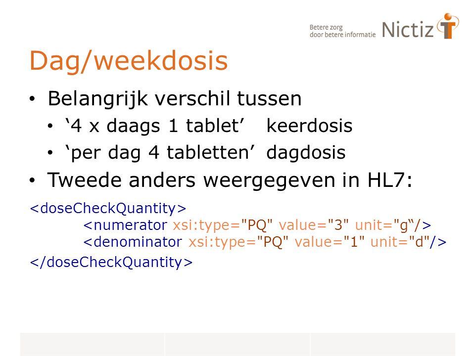 Dag/weekdosis Belangrijk verschil tussen. '4 x daags 1 tablet' keerdosis. 'per dag 4 tabletten' dagdosis.