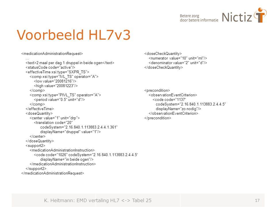 K. Heitmann: EMD vertaling HL7 <-> Tabel 25