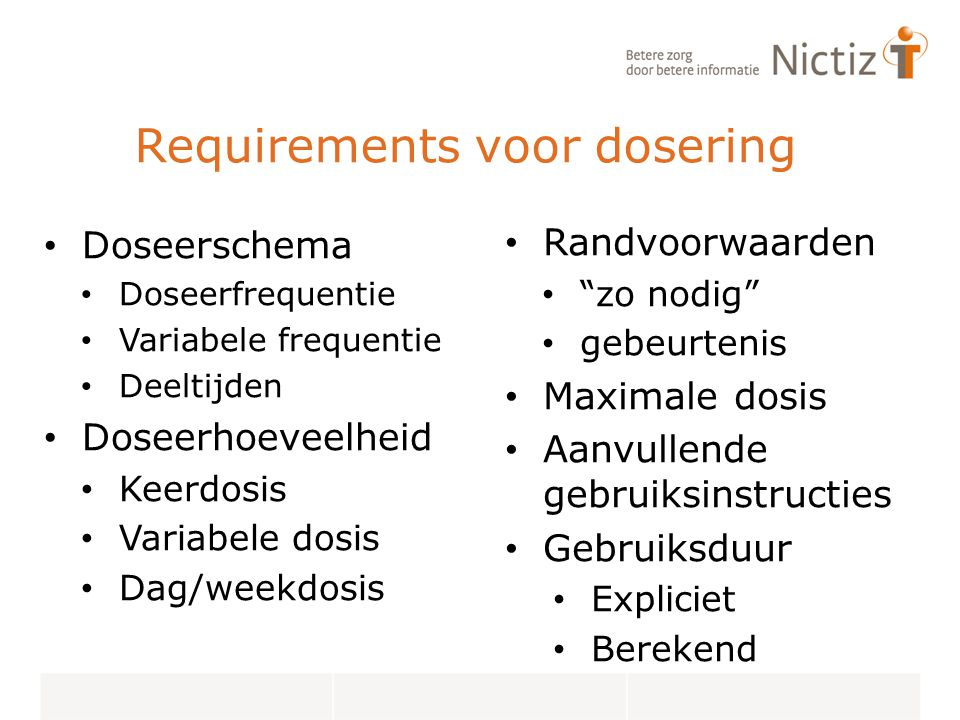 Requirements voor dosering