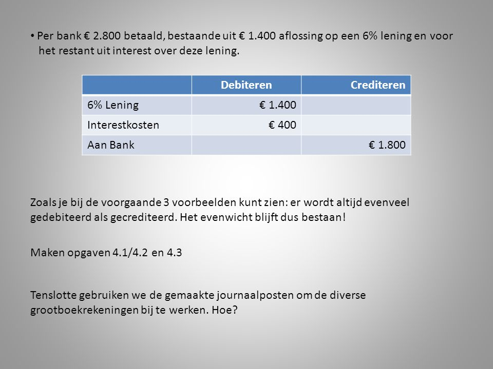 Per bank € 2. 800 betaald, bestaande uit € 1